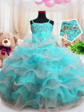 Ruffled Floor Length Aqua Blue Girls Pageant Dresses Spaghetti Straps Sleeveless Zipper