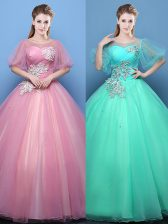Sumptuous Scoop Floor Length Ball Gowns Half Sleeves Pink and Turquoise 15th Birthday Dress Lace Up