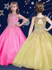 Hot Pink Ball Gowns Scoop Sleeveless Organza Floor Length Zipper Beading Girls Pageant Dresses