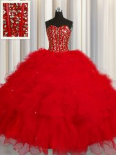 Visible Boning Floor Length Red Quinceanera Gowns Sweetheart Sleeveless Lace Up