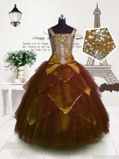 Tulle Straps Sleeveless Lace Up Beading and Belt Little Girls Pageant Gowns in Brown