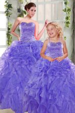 Lavender Strapless Lace Up Beading and Ruffles Ball Gown Prom Dress Sleeveless