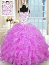 Unique Lilac Sleeveless Floor Length Beading and Ruffles Lace Up Sweet 16 Dresses