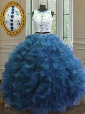 Dazzling Scoop Sleeveless Floor Length Beading and Lace and Ruffles Clasp Handle 15 Quinceanera Dress with Blue
