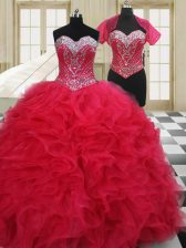 Red Sleeveless Beading Floor Length Quinceanera Gowns