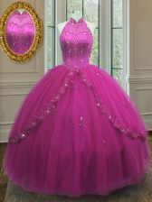 Fabulous Floor Length Fuchsia Quinceanera Gown High-neck Sleeveless Lace Up