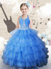 Ruffled Ball Gowns Little Girls Pageant Dress Light Blue Halter Top Organza Sleeveless Floor Length Lace Up