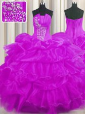 Lilac Ball Gowns Organza Strapless Sleeveless Beading and Ruffled Layers and Pick Ups Floor Length Lace Up Quince Ball Gowns