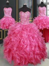 Four Piece Sweetheart Sleeveless Quinceanera Dress Floor Length Beading and Ruffles Hot Pink Organza