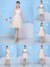 Beauteous Champagne Strapless Lace Up Bowknot Quinceanera Court Dresses Sleeveless