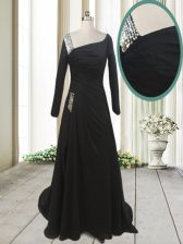 Exceptional Chiffon Asymmetric Long Sleeves Sweep Train Side Zipper Beading Prom Party Dress in Black
