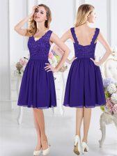 Sleeveless Knee Length Lace Zipper Dama Dress with Purple