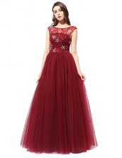 Scoop Tulle Sleeveless Floor Length Dress for Prom and Beading