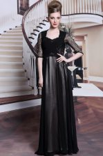 Dazzling Pleated Empire Evening Dress Black V-neck Chiffon Half Sleeves Floor Length Zipper