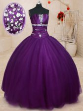 Sexy Dark Purple Strapless Lace Up Beading Quinceanera Gowns Sleeveless