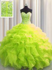 Visible Boning Yellow Green Sweetheart Lace Up Beading and Ruffles Sweet 16 Dress Sleeveless