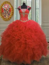 Custom Fit Coral Red Straps Lace Up Beading and Ruffles and Sequins 15 Quinceanera Dress Cap Sleeves