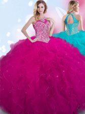 Glorious Halter Top Fuchsia Sleeveless Beading Floor Length Vestidos de Quinceanera