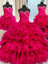Best Four Piece Hot Pink Sweetheart Neckline Beading and Ruffles and Ruching 15th Birthday Dress Sleeveless Lace Up