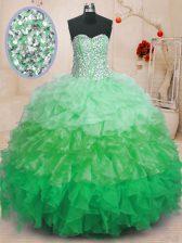 Fashion Floor Length Multi-color Sweet 16 Dress Organza Sleeveless Ruffles