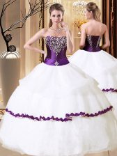 Custom Made Strapless Sleeveless Lace Up Sweet 16 Quinceanera Dress White Organza