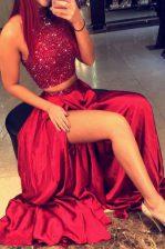 Best Halter Top Red A-line Beading Prom Dresses Backless Satin Sleeveless Floor Length