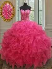 Sleeveless Organza Floor Length Lace Up Quince Ball Gowns in Hot Pink with Beading and Ruffles
