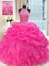Noble See Through Beaded Bodice Hot Pink Ball Gowns Organza High-neck Sleeveless Beading and Ruffles and Pick Ups Floor Length Lace Up Quinceanera Dress
