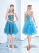 Blue Sleeveless Organza Lace Up Prom Evening Gown for Prom and Party