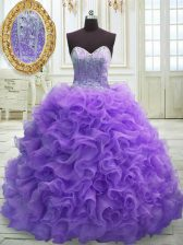 High Class Organza Sleeveless Quinceanera Gown Sweep Train and Beading and Ruffles
