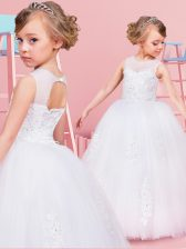 Enchanting White Ball Gowns Scoop Sleeveless Tulle Floor Length Lace Up Beading and Lace and Appliques Flower Girl Dress