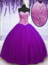 Elegant Eggplant Purple Sleeveless Beading Floor Length Ball Gown Prom Dress