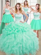 Excellent Four Piece Apple Green Organza Lace Up Sweetheart Sleeveless Floor Length Quinceanera Dress Beading and Ruffles and Pick Ups