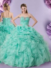Sleeveless Floor Length Beading and Ruffles and Pick Ups Lace Up 15 Quinceanera Dress with Apple Green