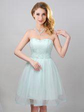 Flare Sweetheart Sleeveless Lace Up Vestidos de Damas Apple Green Tulle