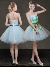 Light Blue A-line Appliques and Belt Prom Evening Gown Lace Up Organza Sleeveless Mini Length