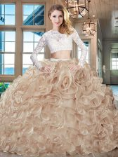 Adorable Champagne Zipper Scoop Beading and Lace and Ruffles 15th Birthday Dress Organza Long Sleeves Brush Train