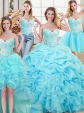Most Popular Four Piece Sleeveless Beading and Ruffles and Pick Ups Lace Up Vestidos de Quinceanera