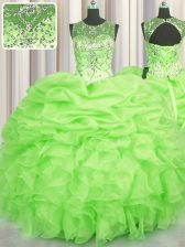 Super See Through Sleeveless Beading and Ruffles and Pick Ups Lace Up Quinceanera Gowns