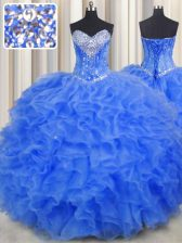 Modern Royal Blue Sweetheart Neckline Beading and Ruffles Sweet 16 Quinceanera Dress Sleeveless Lace Up