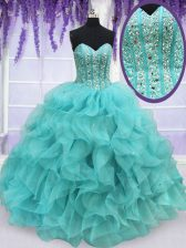 Beautiful Floor Length Lace Up 15 Quinceanera Dress Aqua Blue for Military Ball and Sweet 16 and Quinceanera with Beading and Ruffles