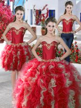 Custom Made Three Piece Sleeveless Floor Length Beading Lace Up Ball Gown Prom Dress with Red