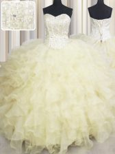Vintage Ball Gowns Quinceanera Dress Light Yellow Sweetheart Organza Sleeveless Floor Length Lace Up