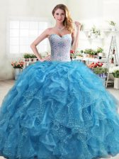 Floor Length Baby Blue 15 Quinceanera Dress Organza Sleeveless Beading and Ruffles
