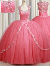 Watermelon Red Tulle Zipper Straps Cap Sleeves Sweet 16 Dresses Sweep Train Beading and Appliques