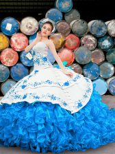 Glamorous Blue And White Halter Top Lace Up Appliques and Embroidery and Ruffles 15 Quinceanera Dress Sleeveless
