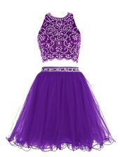 Clearance Scoop Purple Sleeveless Beading Mini Length Prom Dresses