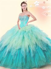 Cute Multi-color Sleeveless Beading and Ruffles Floor Length Quinceanera Gown