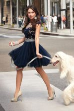 Fancy Scoop Navy Blue Sleeveless Tulle Zipper Dress for Prom for Prom and Party
