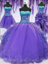 Luxurious Four Piece Floor Length Lavender Sweet 16 Dresses Organza Sleeveless Embroidery and Ruffles